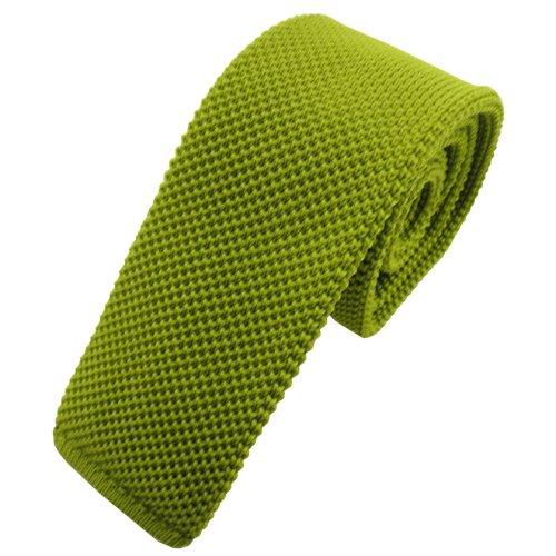 TigerTie - Corbata de punto estrecho - Aspecto moderno gracias a la parte inferior recta. Verde Lindgrün Talla única