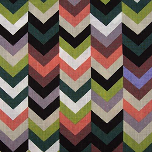 Mooi leven. Bekleding stof blouse linnenlook strepen pijlen zwart wit groen zalmroze lila 1,40m breedte