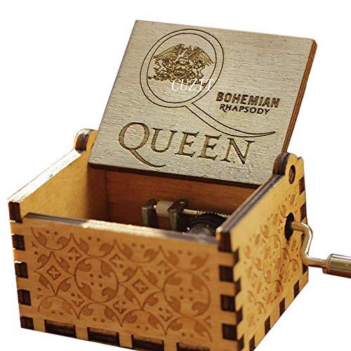 Cuzit Queen Spieluhr, Beste Hits Queen Bohemian Rhapsody Antik-Geschnitzte Handkurbel aus Holz Spieluhr-Box Kreative Holz-Handwerk Kinder, Freunde