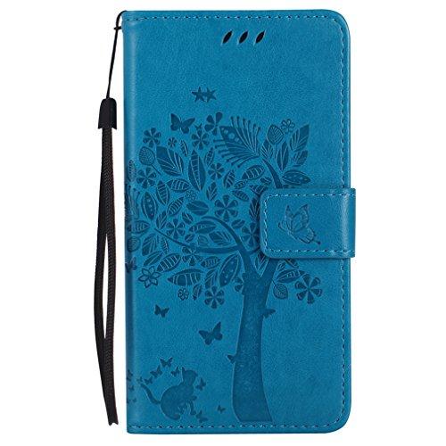 LMAZWUFULM Hülle für HTC One M8 / HTC One M8S 5.0 Zoll PU Leder Magnet Brieftasche Lederhülle Baum & Katze Prägung Design Stent-Funktion Ledertasche Flip Cover für HTC One M8 / M8S Blau