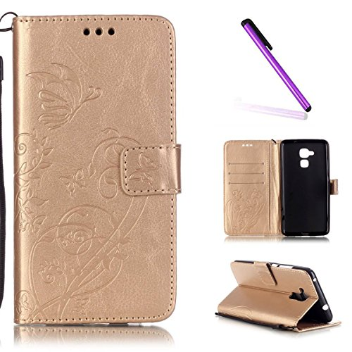 EMAXELERS Huawei Honor 5C Hülle Elegant Pure Schmetterling Ledertasche Slim PU Leder Bookstyle Handyhülle Tasche für Huawei Honor 5C,Gold Single-sided Butterfly