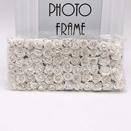144 stks 1.5 cm Mini Kunstmatige Mini Papier Rose Boeket DIY Krans Plakboek Bruiloft Ornament Kunstmatige Rose Kunstbloem, wit