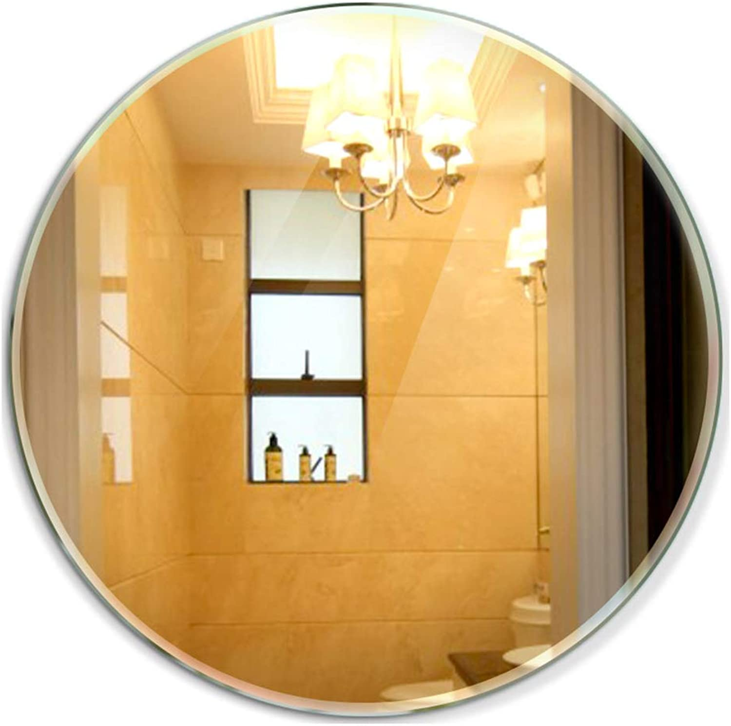 YANZHEN Mirror Wall-Mounted Punch Free Frameless Simple and Modern Hypotenuse Bathroom Circular Glass, 3 Size (color   Silver, Size   Diameter 48cm)