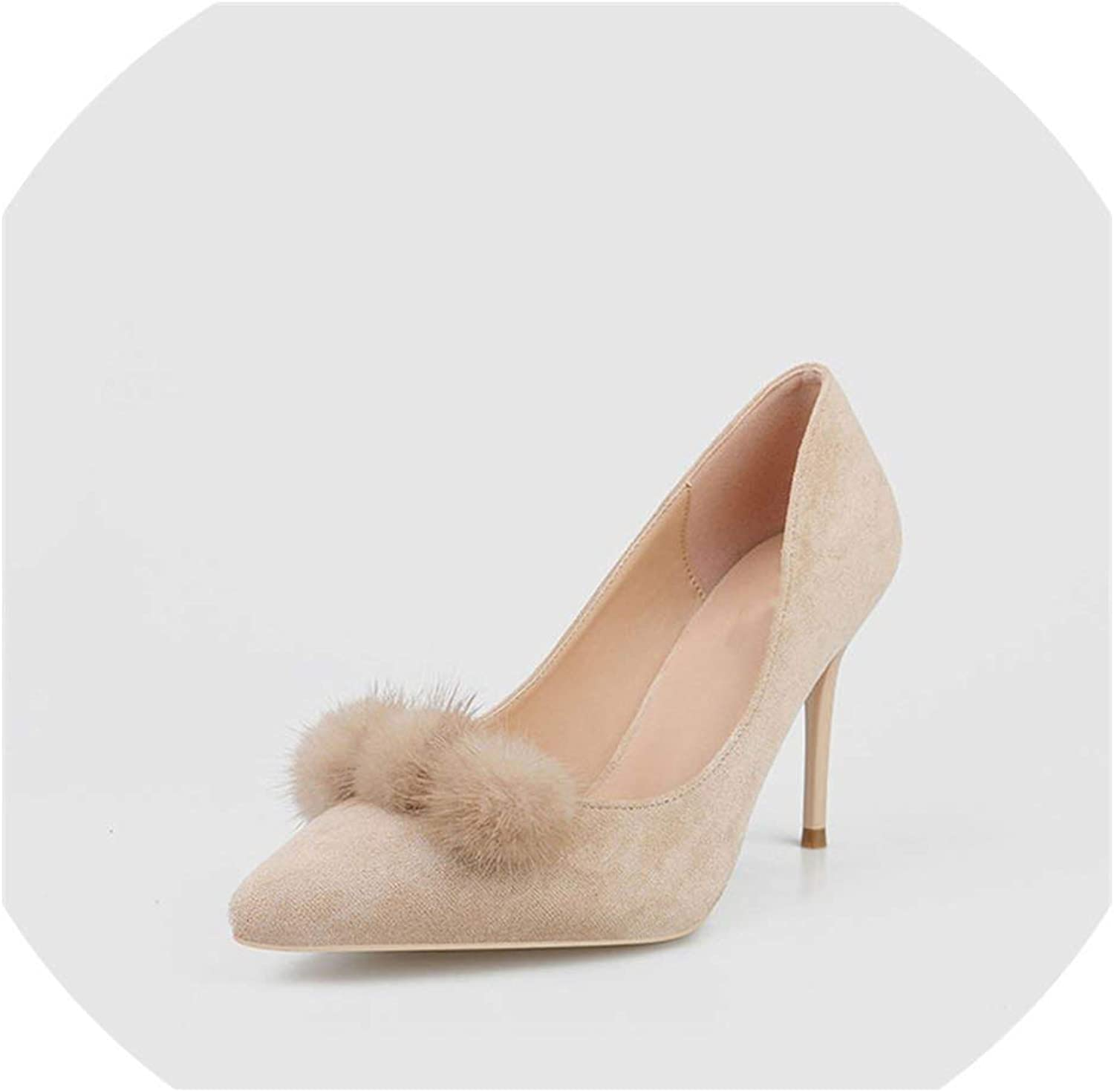 Sexy Women shoes Pumps 9Cm High Heel Suede Hairball shoes Woman Handmade Beige Pumps