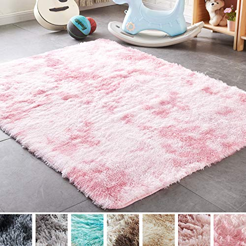 PAGISOFE Shaggy Colored Fluffy Area Rugs Carpets for Baby Nursery Teens Girls Rooms 4x6 Feet Plush Fuzzy Patterned Shag Rugs for Kids Bedrooms Home Room Floor Accent Decor Fur Rug (Pink and White)