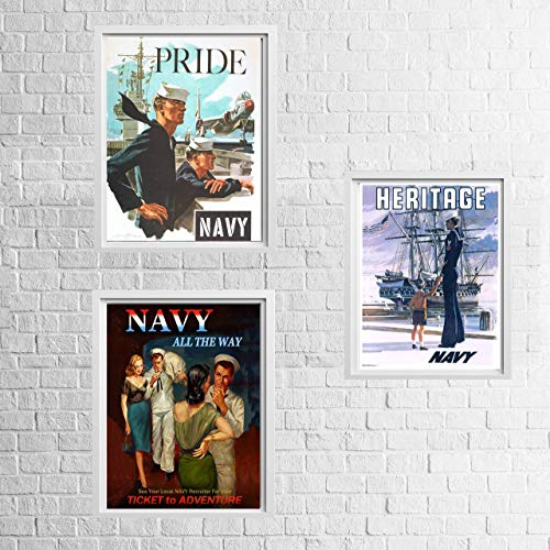Vintage Navy Recruitment Poster Set-'Pride-Heritage-Adventure'(3)- 8 x 10's Wall Art Prints- Ready To Frame- WWII Retro Navy Slogans-Replica Poster Prints. Home-Office Decor. Historical Military Decor