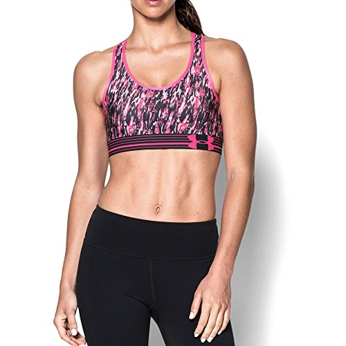Under Armour Women's Mid Printed Sports Bra, Rebel Pink (655)/Black, Small