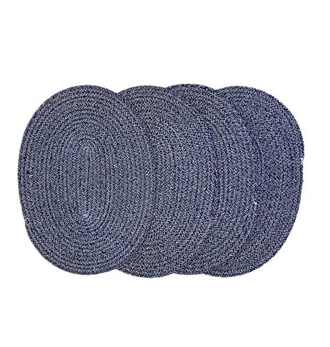 4 juegos de manteles individuales ovalados de algodón tejido de 40 cm, alfombrillas gruesas de aislamiento térmico, alfombrillas de mesa para el hogar, posavasos, alfombrillas...