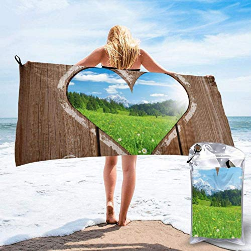 Outhouse,Heart Window View from Wooden Rustic Farm Barn Shed with Chalk Art Image, Ultra Absorbent and Mesh Bag,Soft Quick Dry Beach Bath Towel for Travel,Sports,Camping,Beach,Yoga or Bath 27.5'x55'
