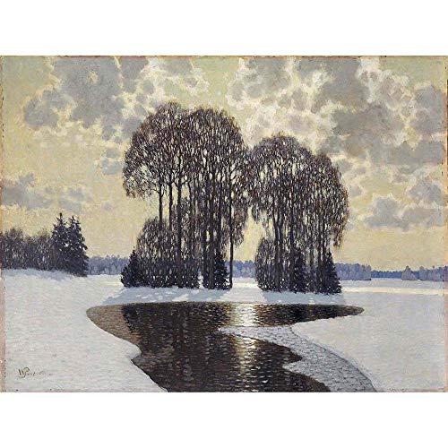 Wee Blue Coo Purvitis Winter Landscape Art Print Poster Wall Decor Kunstdruck Poster Wand-Dekor-12X16 Zoll