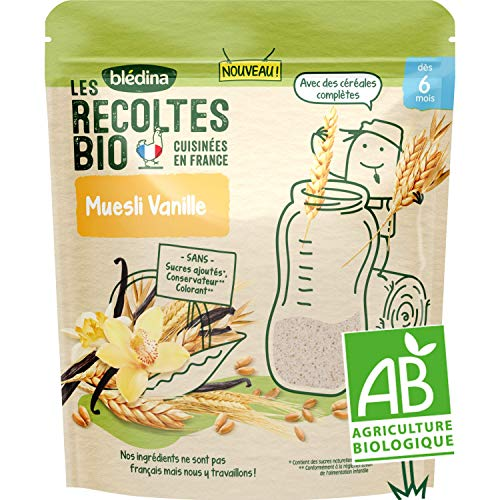Blédina - Les Récoltes bio - Céréales pour les petits-déjeuners de bébé - Muesli Vaille - dès 6 mois - 200g