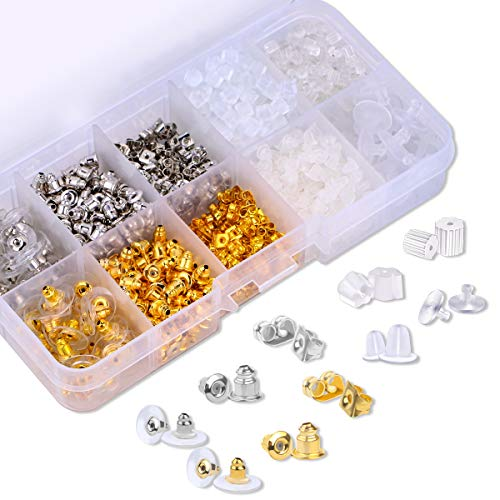 Earring Backs 10 Styles Earring Accessories Safety Bullet Earring Clutch Hypoallergenic 1040 Pieces (10 Styles)