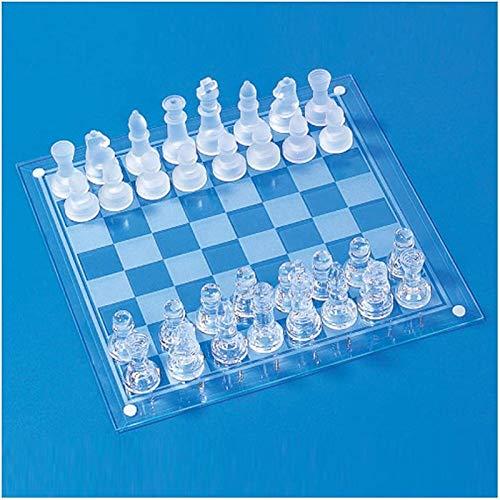 REWD Schachbrett Schachspiel Internationalen Für Party Matte Faux Crystal International-Chess Set mit Checker Board Klares Glas Kinder Pädagogische Spielzeug für Kinder Erwachsene Kinder