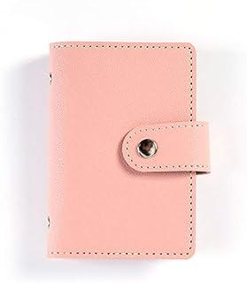 Porta carte di credito, in morbida pelle, porta carte di credito, con bottone, colore: rosa