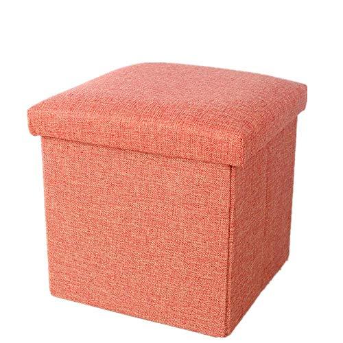 Tägliche Aufbewahrung der Ausrüstung Aufbewahrung Stuhl Stuhlhocker Gepolsterter Fußhocker Hocker Multifunktion mit abnehmbarem Bezug 3 Color s Bench (Farbe: Orangerot Größe: 763838cm)