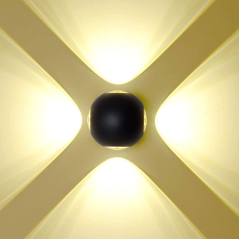 CSDM.AI Auenwasserdichte Wandleuchte, Moderne und einfache vierseitige Leuchte, runde Schwarze Aluminium wandlampe,schwarz,warmWeiß
