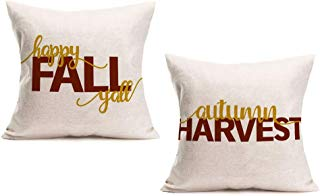 """Smilyard Autumn Harvest Quote Pillow Case, Happy Fall Y'all Decorative Pillow Covers Square Cotton Linen Cushion Cover Autumn Rustic Farmhouse Pillow Cover 18""""x18"""" for Couch Set of 2 (Fall Quote 2PS)"""