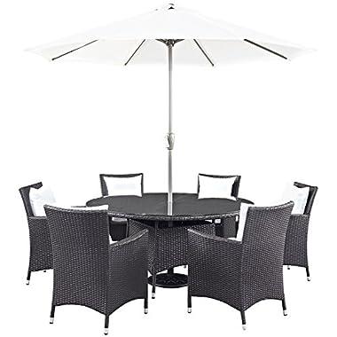 Modway Convene Wicker Rattan 8-Piece Outdoor Patio Dining Set With Umbrella in Espresso White