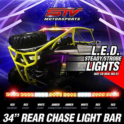 STV Motorsports Off-road Rear Chase LED Strobe Light Bar with Brake/Running Lights for Polaris RZR, Yamaha, Can-Am, UTV, Racing Vehicles (34 inch, RRWAAWRR)