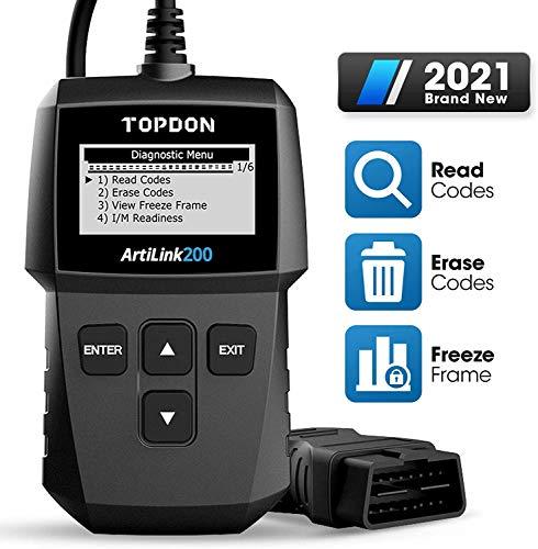 TOPDON AL200 Lecteur de Code OBD2 pour Lire & Effacer Le DTC/Éteindre Le Voyant du Moteur de Contrôle/Outil Diagnostic Auto pour Vérifier Préparation I/M avec Visualisation de Freeze Frame et VIN