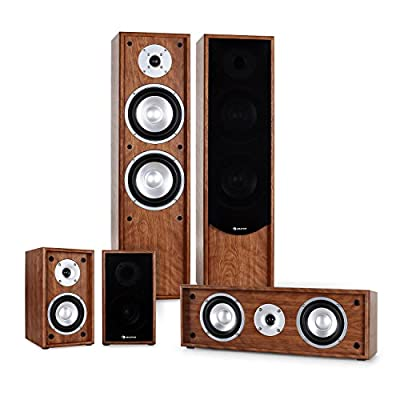 auna Line 300-WN Home Theatre Cinema HiFi Speaker System (265W RMS, Bass Reflex, 5.0 Channels & Gold Plated Speaker Connections) Walnut from Auna