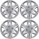 14 inch Hubcaps Best for 2003-2005 Honda Civic - (Set of 4) Wheel Covers 14in Hub Caps Silver Rim Cover - Car Accessories for 14 inch Wheels - Snap On Hubcap, Auto Tire Replacement Exterior Cap