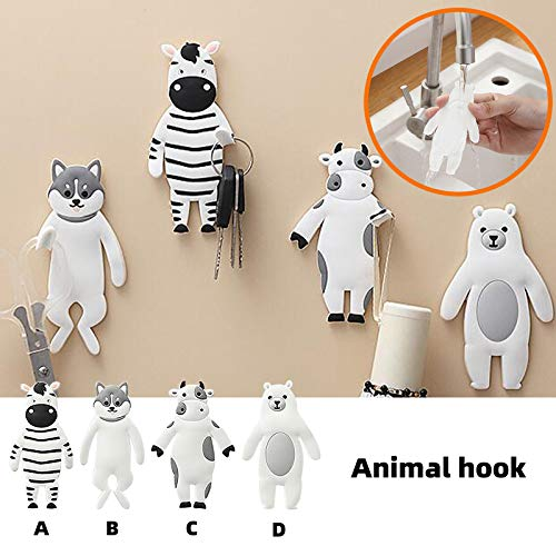 Cartoon Animal Hook Free Punch Fridge Magnet Key Sticky Hook Hat Clothes Hook, Decoration & Hangs, Home & Garden (white)