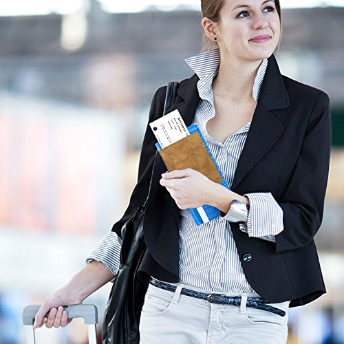 Fintieパスポートケースホルダートラベルウォレットスキミング防止安全な海外旅行用高級PUレザーパスポートカバー多機能収納ポケット名刺クレジットカード航空券エアチケット(カーキ)