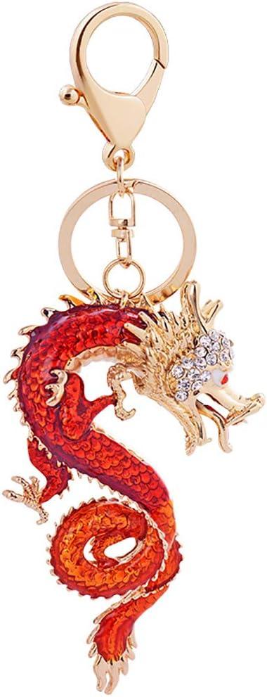 Firecolor Chinese Dragon Keychain Creative Zodiac Crystal Keyring Backpack Purse Handbag Backpack Pendants,Dark