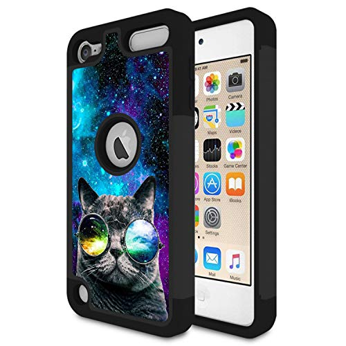 iPod Touch 6 CaseTouch 5 CaseRossy Heavy Duty Hybrid TPU Plastic Dual Layer Armor Defender Protection Case Cover for Apple iPod Touch 5/6thGalaxy Cat with Glasses