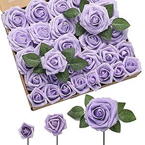 DerBlue 60pcs Three Different Sizes Artificial Roses Flowers Foam Roses Bulk w/Stem for DIY Wedding Bouquets Corsages Centerpieces Arrangements Baby Shower Cake Flower Decorations (Lilac)