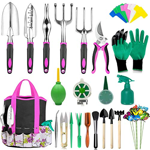 AOKIWO 83 Pcs Garden Tools Set Succulent Tools Set, Heavy Duty Aluminum Manual Garden Kit Outdoor Gardening Gifts Tools for Men Women (Rose Red)