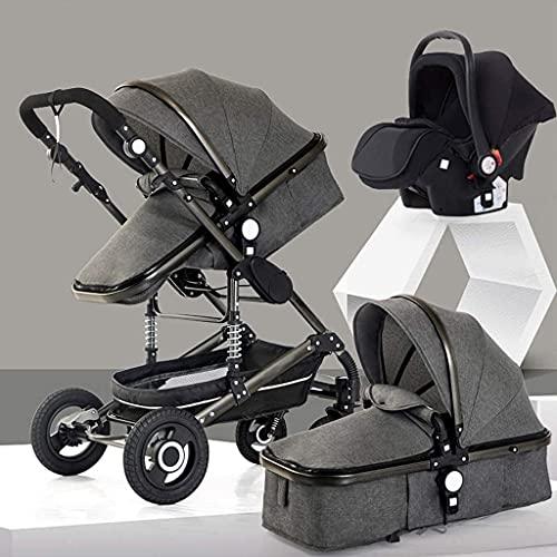 Cochecito de bebé Portátil y liviano 3 en 1 cochecito de paraguas plegable, cochecito de cochecito de altura, cochecitos compactos con sillas de sillas de cochecito, área de asiento grande