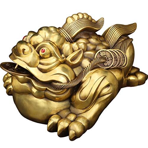 Feng Shui Dekoration Messing Feng Shui Geld Frosch Lucky Chinese Kröte mit Münzen-Three Legged Reichtum Traditioneller Frosch Geld-Kröte Statue Fengshui-Dekor Home Tisch Büro Feng Shui (Größe : M)