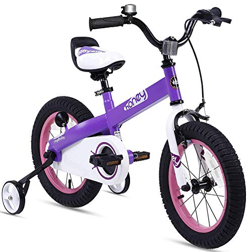 RoyalBaby Boys Girls Kids Bike 14 Inch Honey Bicycles with Training Wheels Child Bicycle Purple