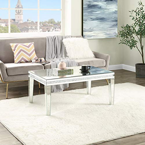 Coffee Table Mirrored with Crystal Inlay Surface, Rectangle Silver Accent Table, Modern Design Luxury Contemporary Furniture, Partially assembled for Living Room from Mireo Furniture