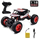 Jeestam RC Car, 2.4GHz Radio Remote Control Car 1:18 Scale 4WD High Speed Off Road RC Trucks Rechargeable Batteries Racing Monster RC Toy Car, for Kids and Adults (Red)