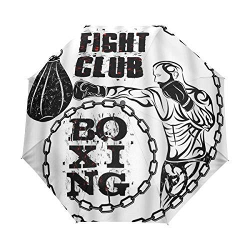 DUILLY Automatischer Regenschirm zum Öffnen/Schließen,Sport-Mann, der Boxsack-Boxkampf-Verein-Wort schlägt,Winddichter,schnell trocknender,Leichter,kompakter,zusammenklappbarer Kleiner Sonnenschirm