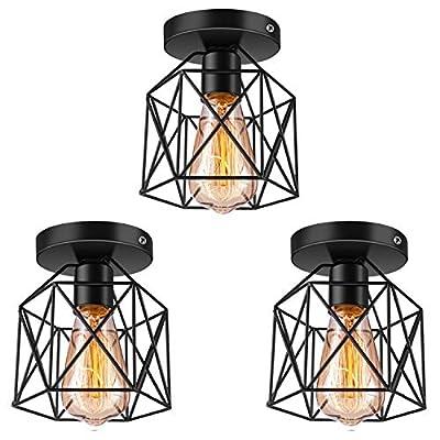 Licperron Semi-Flush Mount Ceiling Light E26 E27 Retro Black Industrial Ceiling Light Fixture for Porch Hallway Kitchen Farmhouse Lighting 3 Pack