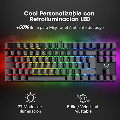 PICTEK Teclado Mecánico Switch Blue con Luz, Teclado Gaming Español LED Rainbow con Switch Azul, 87 Teclas Anti-Ghosting para PC/Mac con Windows - Negro