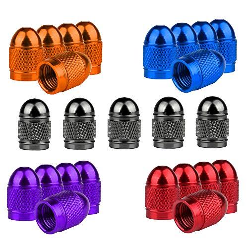 Senven 25pcs Cappucci con gambo valvola alta qualità, alluminio, Cappucci parapolvere per pneumatici, auto, moto, camion, Evitare perdite d'aria - Coperture valvole universali per pneumatici