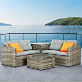 Mecor 4PC Patio Furniture Set, Wicker Outdoor Furniture Sectional Cushioned Sofa Set with Storage Box Glass Coffee Table and Coffee Table Garden,Backyard,Lawn Furniture with 2 Pillow (Grey)