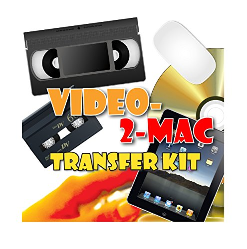 Photo of VHS and Camcorder Video Capture Kit. For Mac OSX. Works with Catalina (10.15), Mojave (10.14), High Sierra (10.13), Sierra (10.12), El Capitan (10.11). Includes USB capture hardware, leads and capture software. Links your existing VCR or Camcorder to your Apple Mac. Copy, Convert, Transfer VHS, S-VHS, VHS-C, Hi8, Digital8, Video8, Mini-DV and Betamax. For all iMac, Macbook Pro, Mini and Pro models. Includes video tutorial and digital download link for Macs without DVD drives.