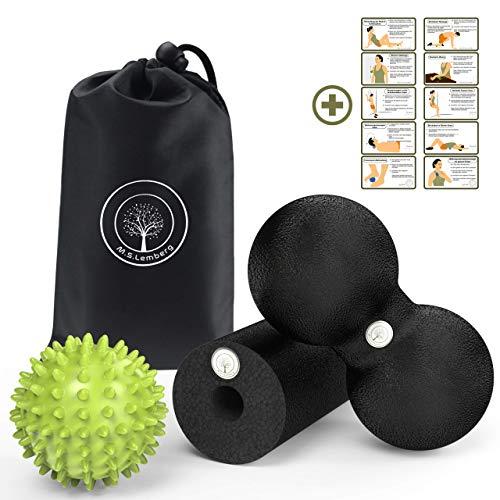 M.S.Lemberg Faszien Set (inkl. Mini Faszienrolle klein, Duoball 8cm & Igelball Fußmassage hart) Rücken Nacken - Massageball mit Noppen, Noppenball, Foam Roller, Faszien-Ball Peanut, Massage-Rolle