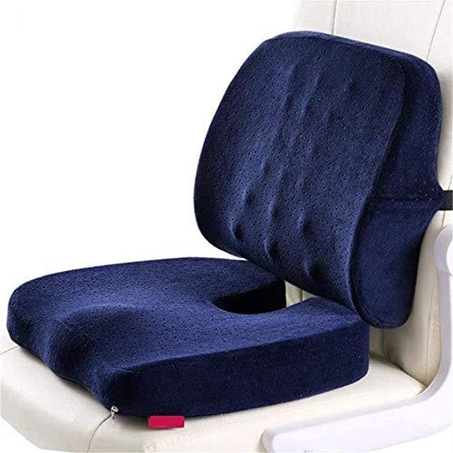 Cojín de asiento y almohada lumbar de apoyo para la espalda - para ciática coxis y alivio del dolor de coxis - Almohadilla ortopédica para silla de escritorio de oficina y asiento de coche