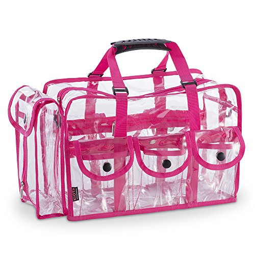 KIOTA Makeup Artist Storage Bag, Clear Cosmetic Bag with Side Pockets and Shoulder Strap, Ergonomic Handle, ON THE GO Series - Pink Trim