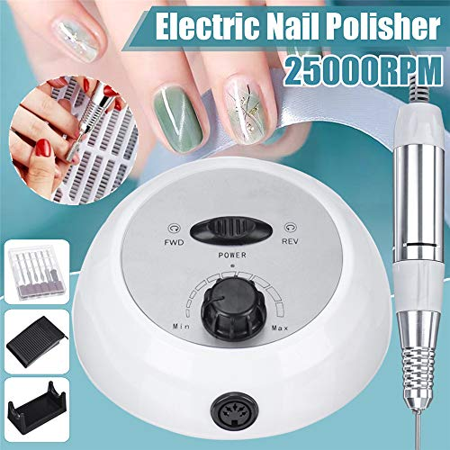 Elektrische nagel boor, 25000 RPM nagel boormachine voor acrylnagels, professionele manicure pedicure polijstset, nagelverzorging buffer nagelriem met voetpedaal