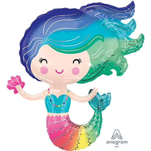 amscan 10022946 3847201 Folienballon Supershape Bunte Meerjungfrau, Mehrfarbig