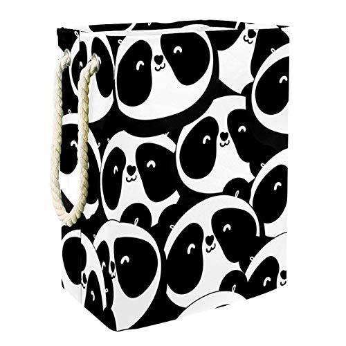 MUOOUM Cesta de lavandería con diseño de panda, con asa de piel duradera, con cordón, impermeable, plegable