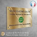 Plaque professionnelle personnalisée en ligne Plexiglas   12 couleurs disponibles   Plaque cabinet médecin infirmier   30 x 20 cm (fond Vieil Or)